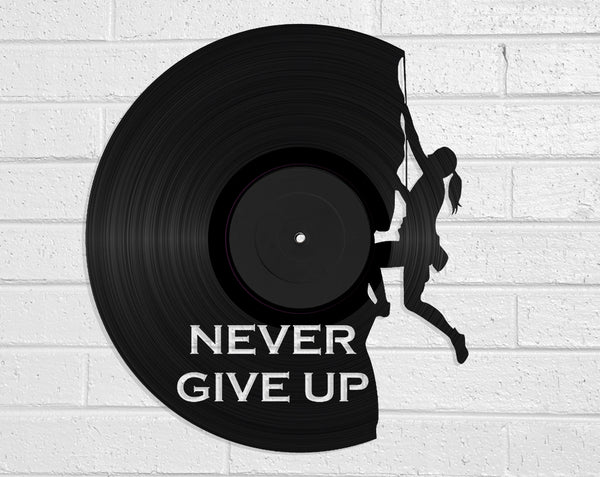 Never Give Up Vinyl Record Art Vinyl Revamp - Vinyl Record Art