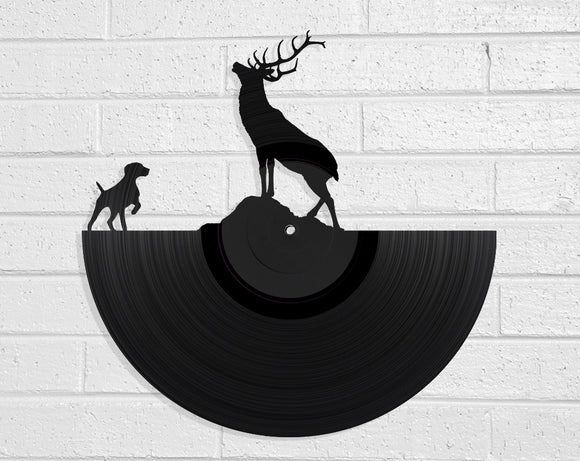 Stag and Dog Vinyl Record Art Vinyl Revamp - Vinyl Record Art