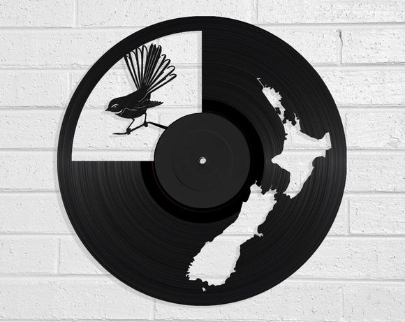 NZ Map & Fantail Vinyl Record Art Vinyl Revamp - Vinyl Record Art