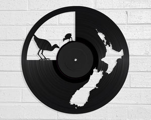 NZ Map & Pukeko Vinyl Record Art Vinyl Revamp - Vinyl Record Art