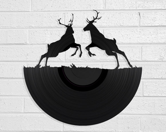 Stag Fight Vinyl Record Art Vinyl Revamp - Vinyl Record Art