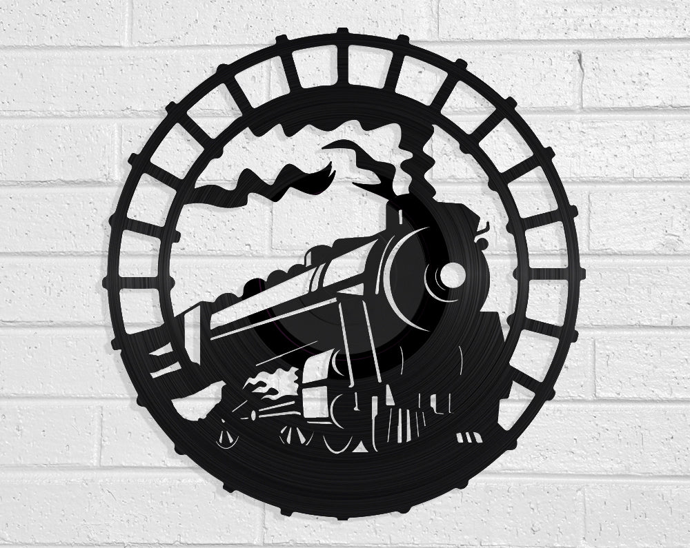 Steam Train Vinyl Record Art Vinyl Revamp - Vinyl Record Art