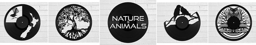 nature and animal vinyl record art and clocks