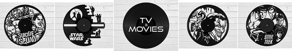 tv and movie vinyl record art and clocks