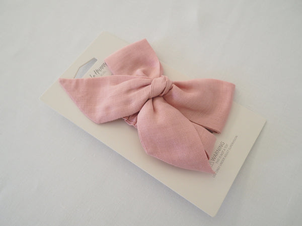 Snuggle Hunny Kids ~ Dusty Pink Linen Bow Pre-Tied Headband Wrap
