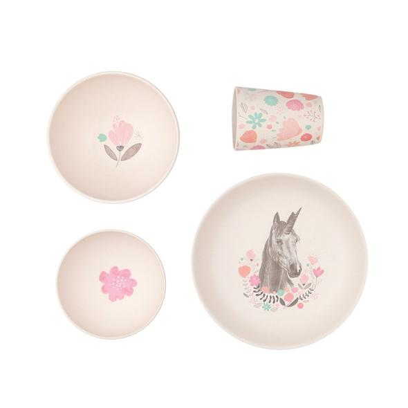 Love Mae 4 Piece Unicorn Supper Bamboo Dinner Set