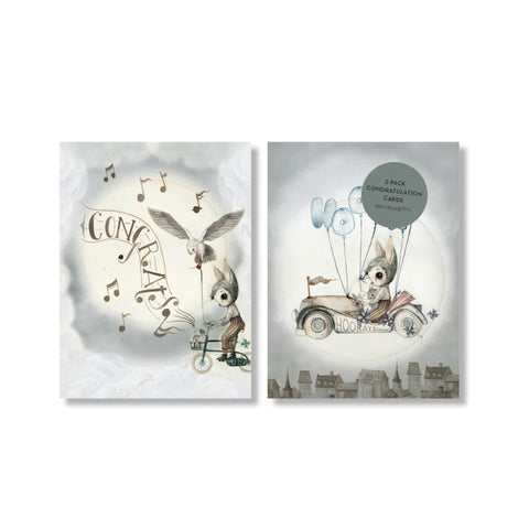 Mrs Mighetto 'Land of Birds' 2-Pack A6 Congratulations cards - Flying Car