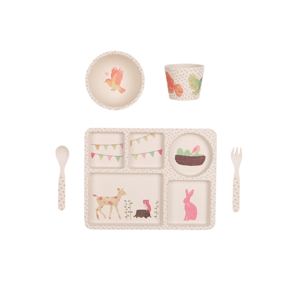 Love Mae Woodland Tea Party 5 Piece Bamboo Dinner Set
