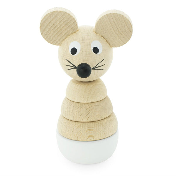 Wooden Stacking Toy Mouse White