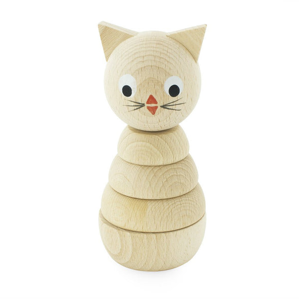 Wooden Stacking Toy Kitten Natural