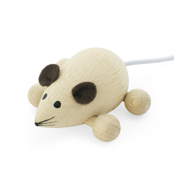 Wooden Push Along Mouse Natural
