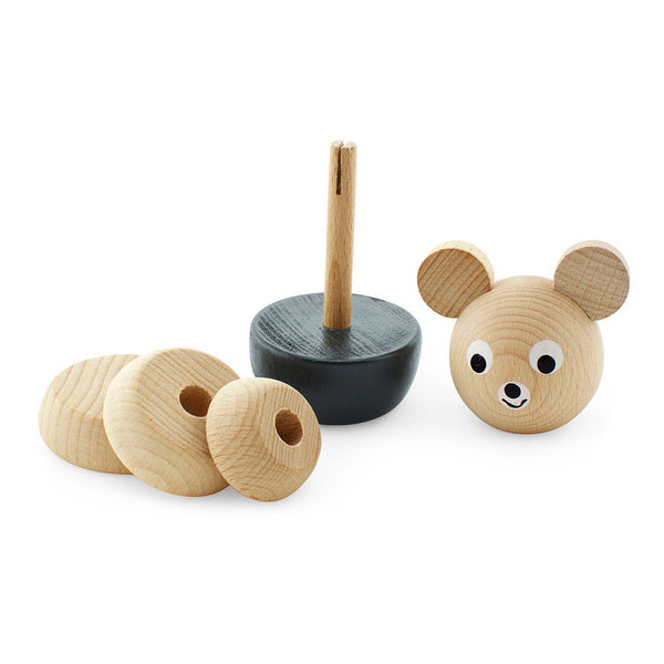 Wooden Stacking Toy Bear Black