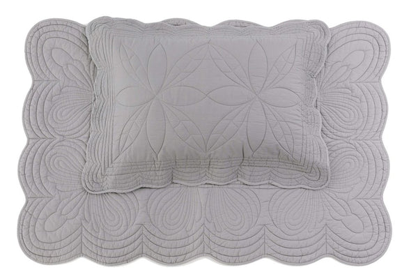 Quilt bedspread and Pillow Set - Elephant grey - single
