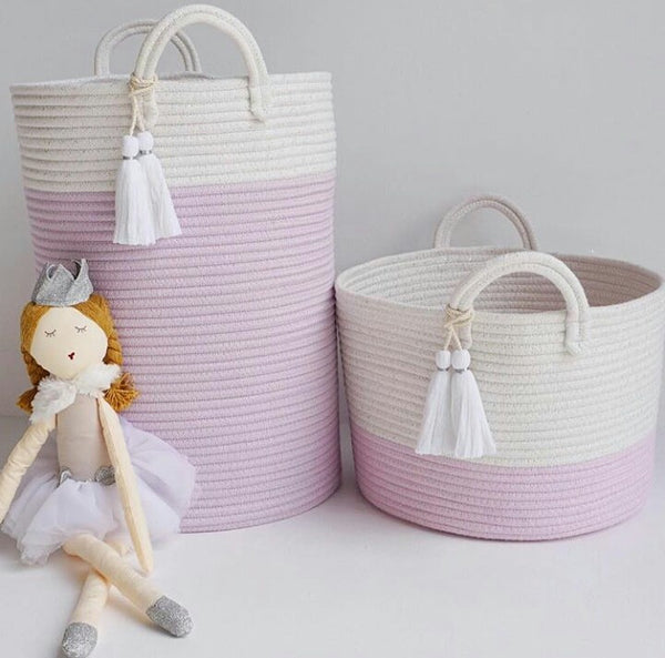 Munchkin and Bear Violet Tassel Storage Basket