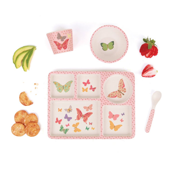 Love Mae Butterflies 5 Piece Divided Bamboo Set