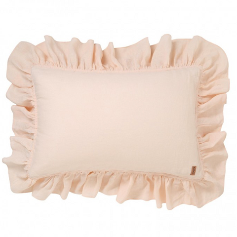 KIP&CO VANILLA CREAM LINEN FRILL PILLOWCASE