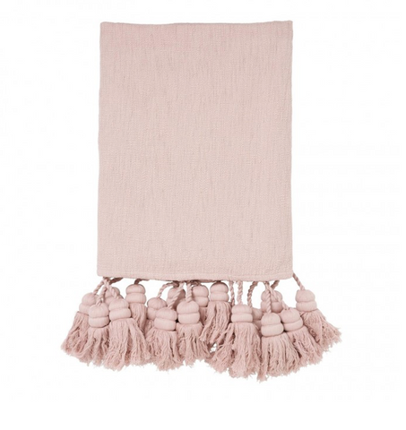 KIP&CO PEACH BLUSH TASSEL THROW