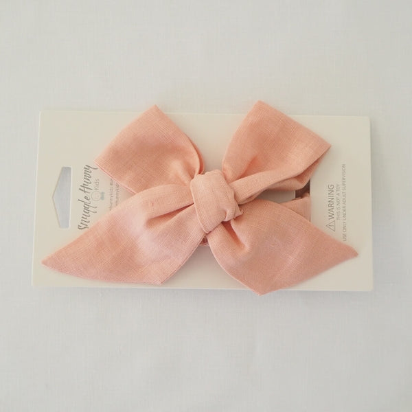 Snuggle Hunny Kids ~ Rust Linen Bow Pre-Tied Headband Wrap