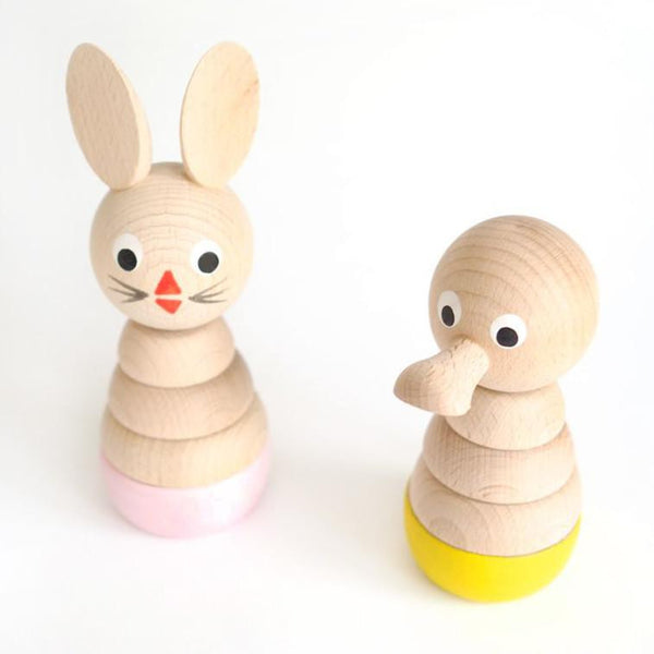 Sarah and Bendrix Pink Wooden Rabbit Stacking Toy