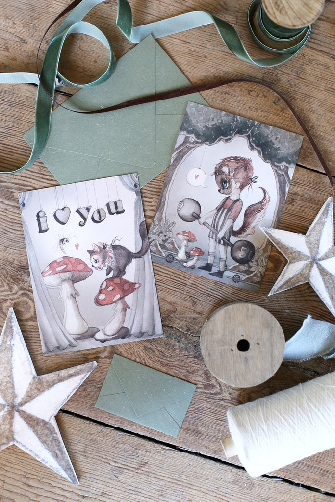 Mrs. Mighetto ~ 2-Pack STRONG LOVE cards ~ My Tiny Theatre