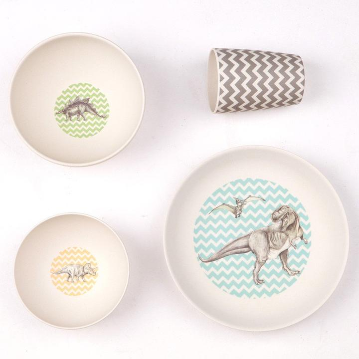 Love Mae 4 Piece T-rex Supper Bamboo Dinner Set