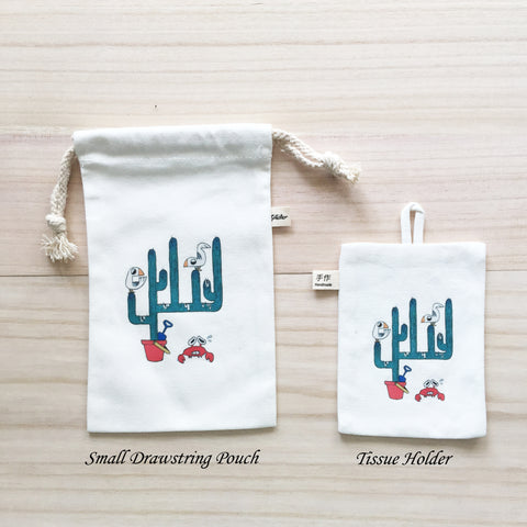81-85 Small Drawstring Pouch and Tissue Holder