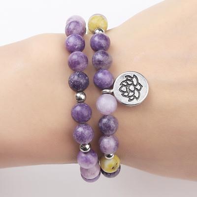 "Bracelet Double ""Anti-Stress"" en Lépidolite et Serpentine"