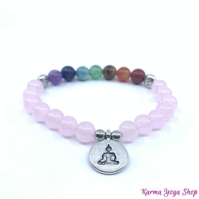 Bracelet 7 Chakras Amour en Quartz Rose (Nouvelle Version 2019) Lotus Bracelet