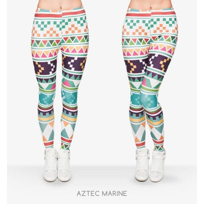 Leggings Fashion - 11 styles disponibles - Taille unique Aztec Marine Leggings