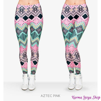 Leggings Fashion - 11 styles disponibles - Taille unique Aztec Pink Leggings