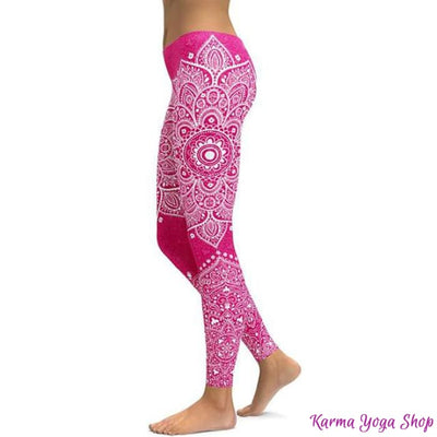 Leggings Mandala et Vibration des Couleurs - 14 couleurs disponibles Fushia / S Leggings