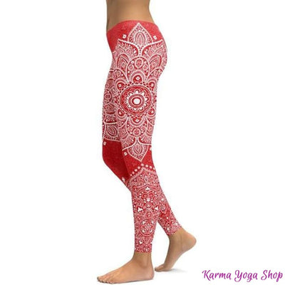 Leggings Mandala et Vibration des Couleurs - 14 couleurs disponibles Rouge / S Leggings