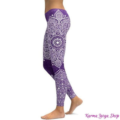 Leggings Mandala et Vibration des Couleurs - 14 couleurs disponibles Violet / S Leggings