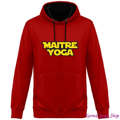 Sweat Capuche Bicolore Unisexe Maitre Yoga Fire Red / Jet Black / XS Unisexe>Sweatshirts
