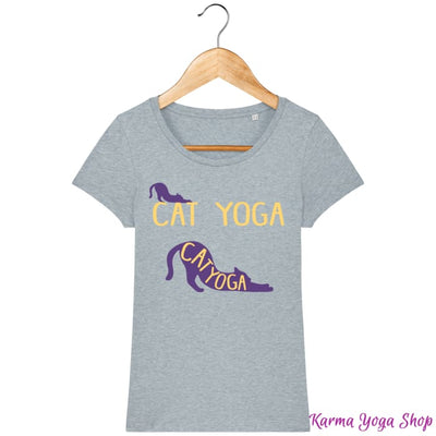 T-shirt Femme Cat Yoga Heather Ice Blue / XS T-Shirts