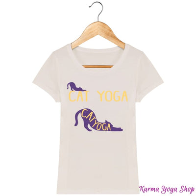 T-shirt Femme Cat Yoga Off White / XS T-Shirts