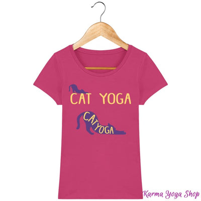 T-shirt Femme Cat Yoga Raspberry / XS T-Shirts