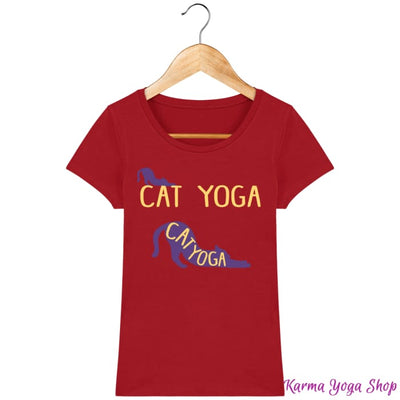 T-shirt Femme Cat Yoga Red / XS T-Shirts