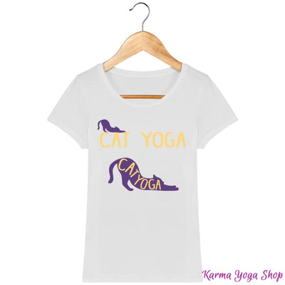 T-shirt Femme Cat Yoga White / XS T-Shirts