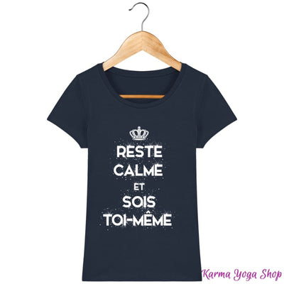 T-shirt Femme Reste Calme & Sois Toi-Même French Navy / XS Femme>Tee-shirts