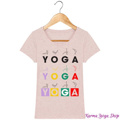 T-shirt Femme Yoga Asanas Cream Heather Pink / XS T-Shirts