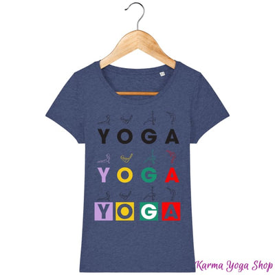 T-shirt Femme Yoga Asanas Dark Heather Indigo / XS T-Shirts