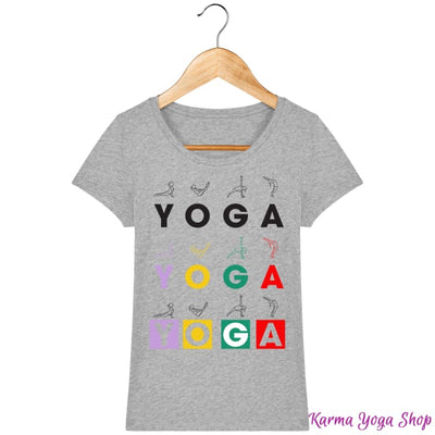 T-shirt Femme Yoga Asanas Heather Grey / XS T-Shirts
