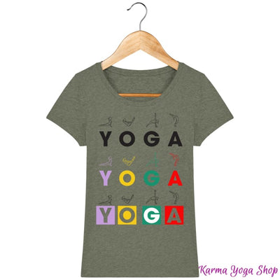 T-shirt Femme Yoga Asanas Mid Heather Khaki / XS T-Shirts