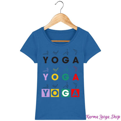 T-shirt Femme Yoga Asanas Royal Blue / XS T-Shirts