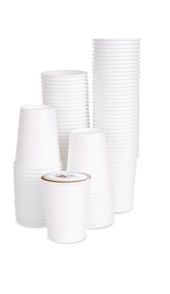 100 x 7oz White Paper Cups For Hot Drinks (190 ml)