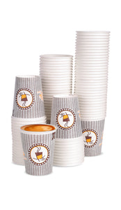 100 x 7oz Grey Coffee Design Paper Cups For Hot Drinks (190ml)