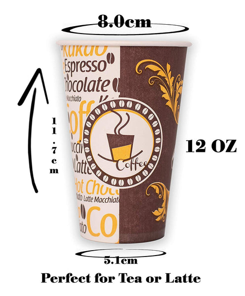 50 x 12 oz Paper Cups for Hot Drinks Suitable for Tea, Cappuccino or Latte (350 ml)