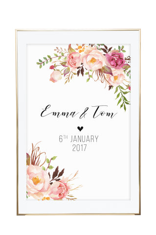 'Personalised Floral Wedding' Wall Print / Wedding Sign