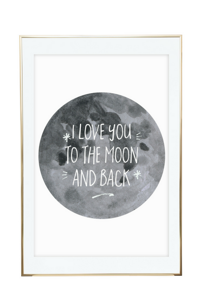 'I Love You To The Moon And Back' Wall Print - Pika & Pookie Designs